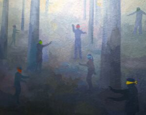 blindfolded people walking in a forest